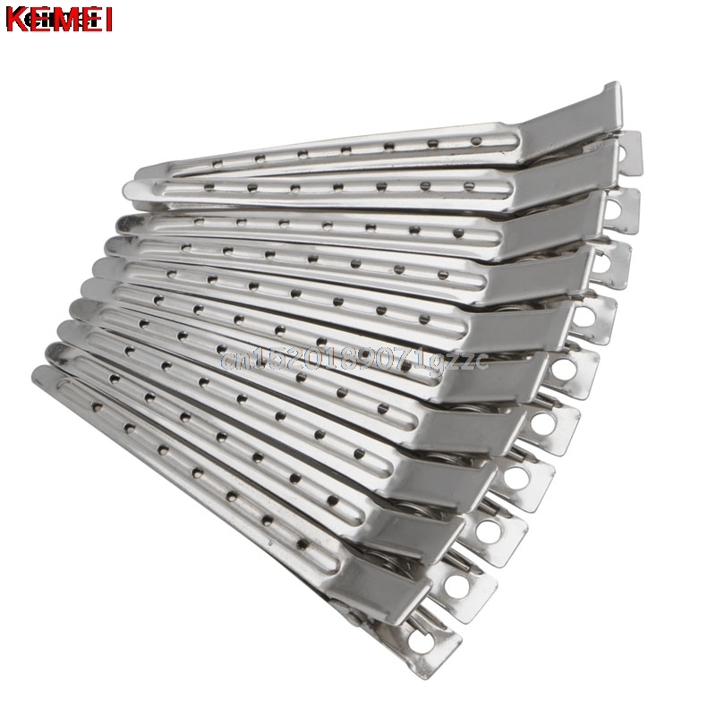 10pcs Hair Clips Stainless Steel Hairdressing Duck Bill Alligator Clips #H027#