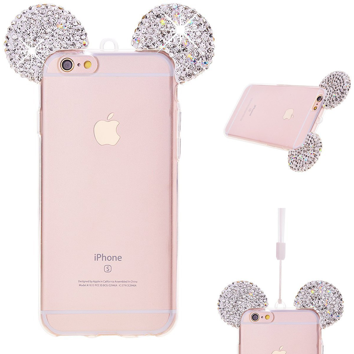 Luxury Bling Glitter <font><b>Case</b></font> For <font><b>iPhone</b></font> <font><b>8</b></font> 7 6 6S Plus 5 5S SE XR XS Max Back Cover 3D Crystal <font><b>Mickey</b></font> Ears Soft Silicone Phone <font><b>Cases</b></font> image