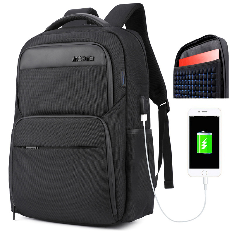 Mens Laptop Backpacks Male USB Charge Backpack Men Casual Travel Nylon Leather Patchwork Back Pack for Teenage
