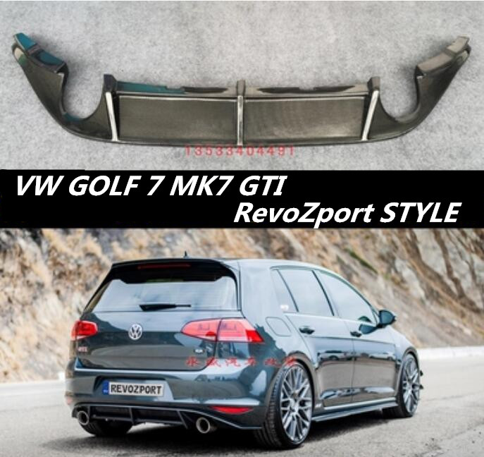 JIOYNG Carbon fiber Rear Bumper Lip Spoiler Diffuser Cover For Volkswagen VW GOLF 7 MK7 GTI Fast by EMS (RevoZport STYLE)