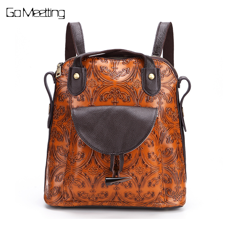 New 2017 multi-function Genuine Leather Women Backpack Vintage Emboss Cow Leather Ladies Shoulder Bag High quality Backpacks