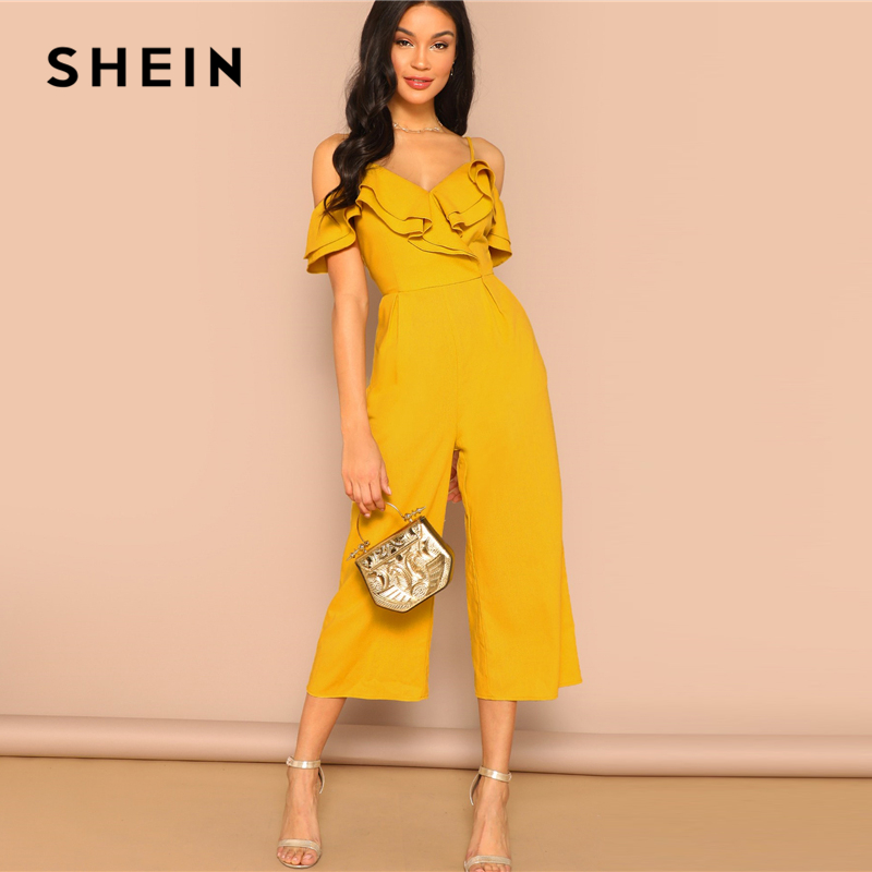 b339a50b022 SHEIN Cold Shoulder Layered Flounce Foldover Palazzo Jumpsuit Party Ruffle  Spaghetti Strap Sleeveless Women Summer Jumpsuits-in Jumpsuits from Women s  ...
