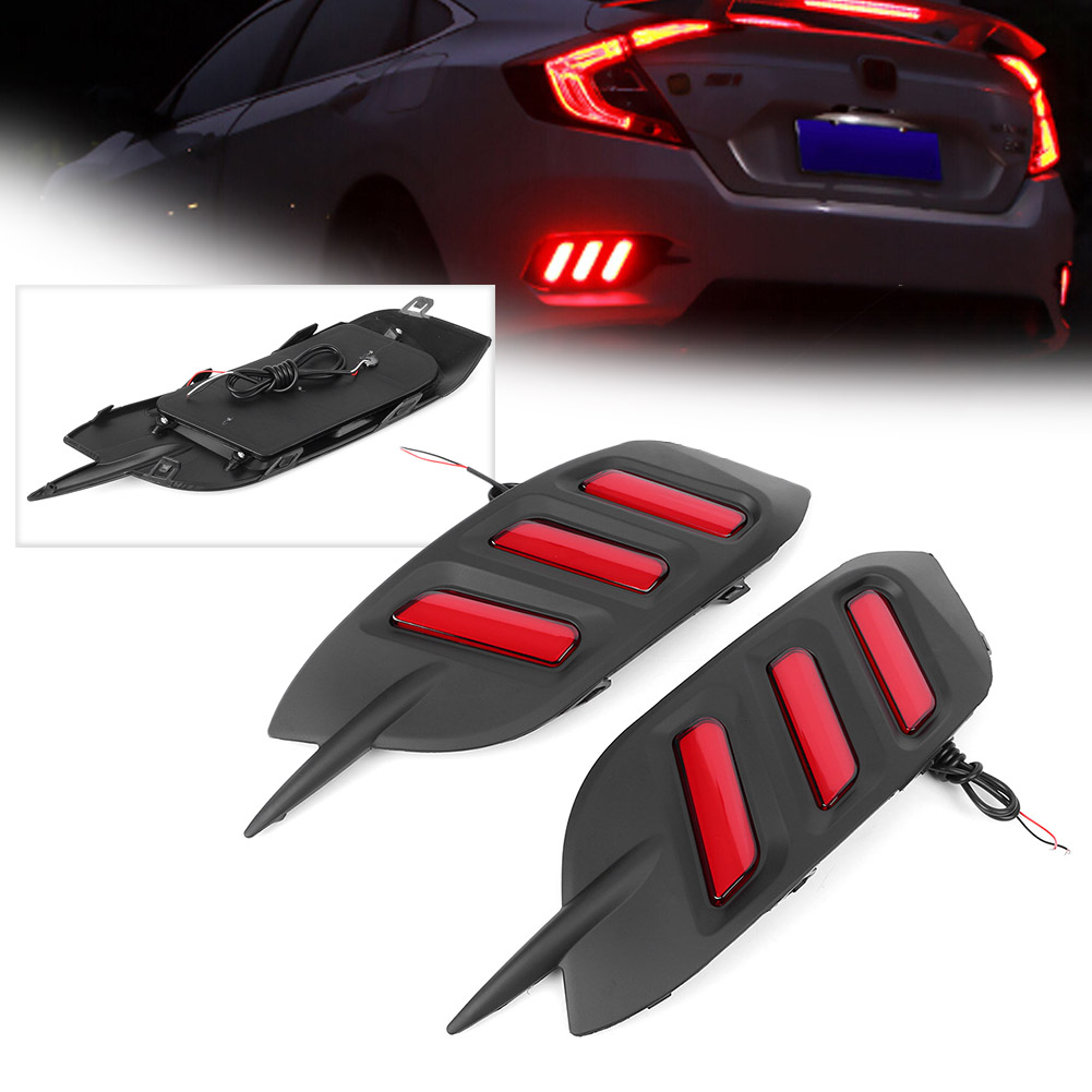 LED Rear Bumper Lamps Fog Driving Brake Tail Lights Taillight For Honda Civic 2016 2017 2018
