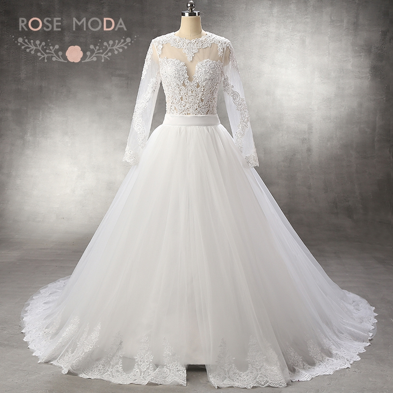 Rose Moda Long Sleeves Mermaid Wedding Dress with Removable Tulle Overskirt Keyhole Back Destination Bridal Gown with Gold Sash