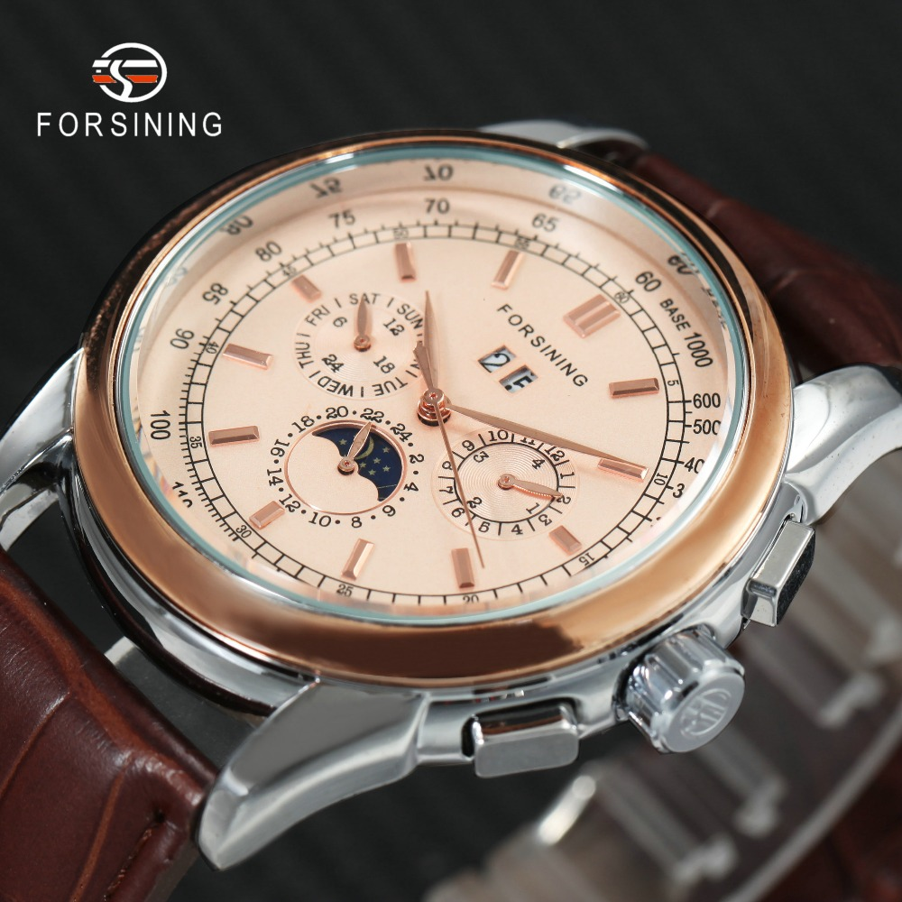 FORSINING Top Brand Luxury Men Auto Mechanical Watch Genuine Leather Strap 6 Hands 24H Date Display Crystal Decoration Watches 2017 jaragar luxury mens watch 6 hands week date 24h auto mechanical watches leather wristwatches free ship