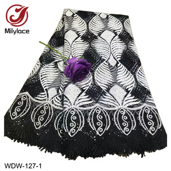 Wholesale French Tulle Lace Fabric Fashionable Nigerian Lace Material African Embroidery Lace Fabric for Dress WDW-127