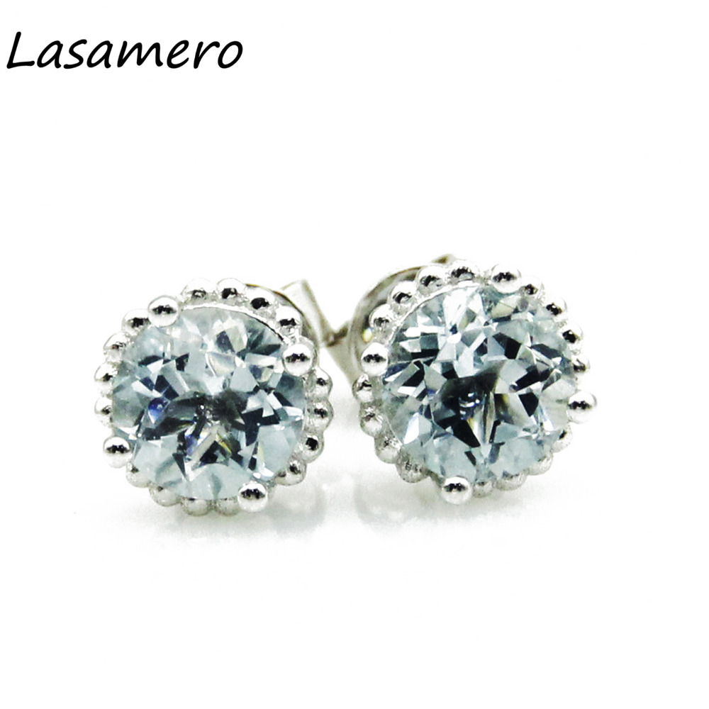 LASAMERO 1.2CTW Round Cut Natural Aquamarine Earrings Halo Style 14k White Gold Fine Jewelry Stud Earrings for Women
