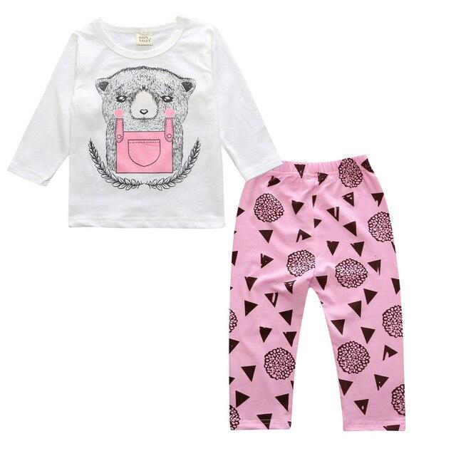 2e56568542cc5 Mode nouvelle automne Enfants de hibou motif ensemble occasionnel chemises  et pantalon bébé de Bande Dessinée