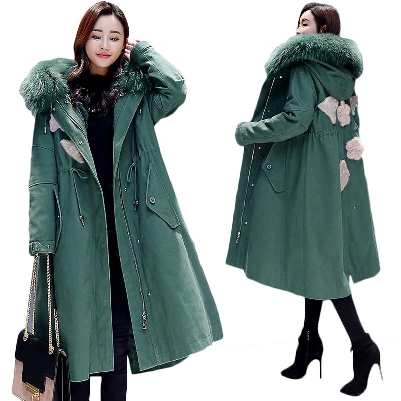 Long Winter jacket Women   Parka   Korean Big fur collar Hooded Thick Warm Padded jacket Women Overcoat Loose Plus size Cotton coat