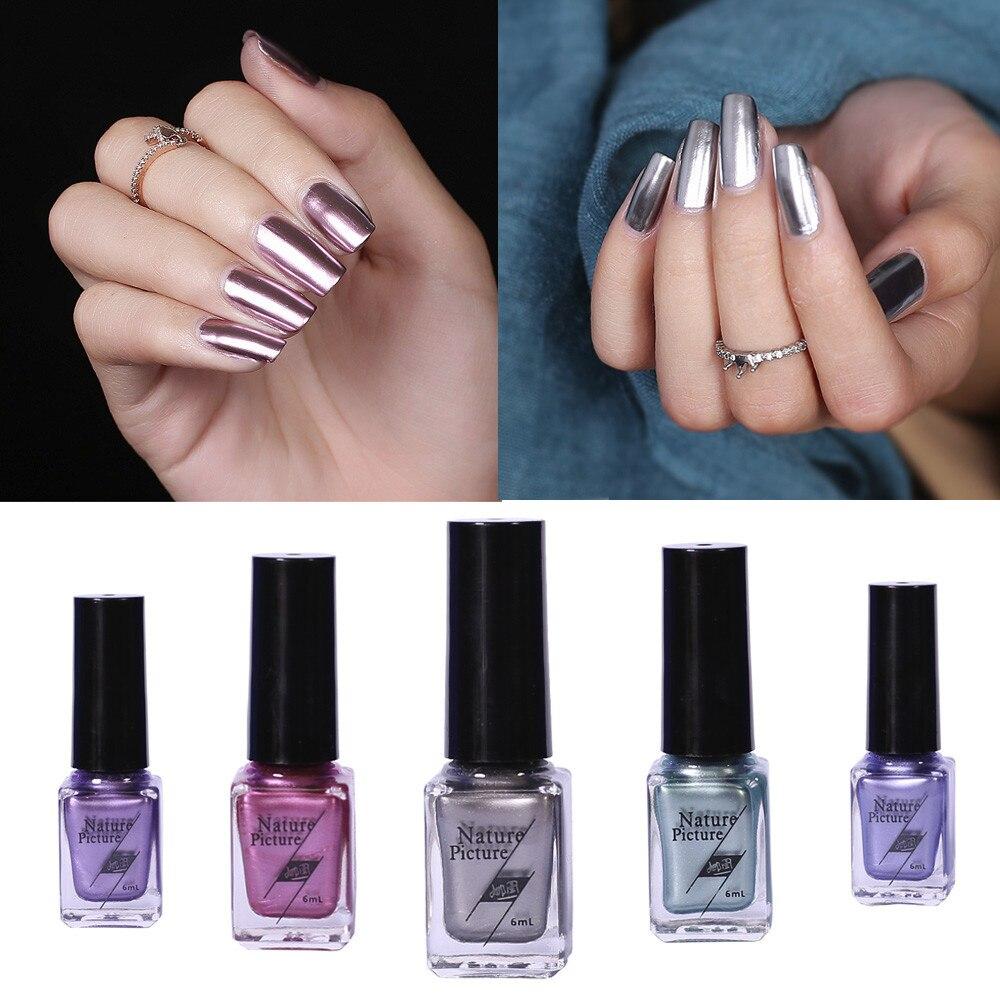 6 мл зеркало Лаки для ногтей Покрытие серебряной пасты металла Цвет Нержавеющаясталь зеркало серебро Лаки для ногтей для Дизайн ногтей