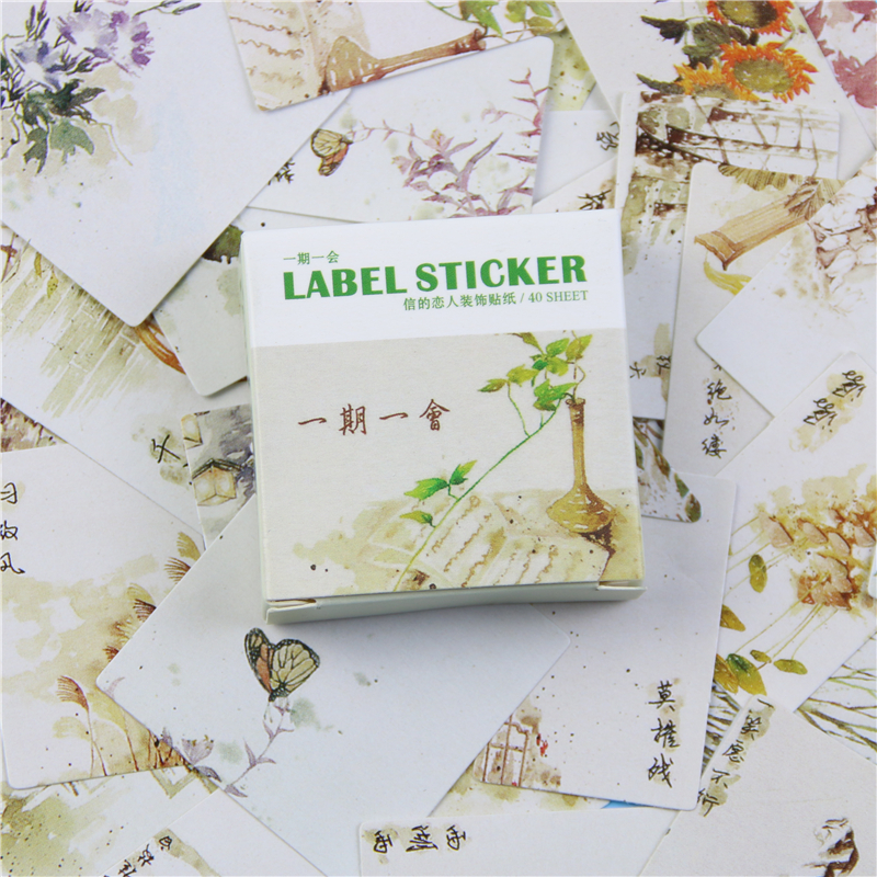 40 Pcs / Lot The Letter Box Sticker Set A lovers Archaic Period For A While Into The Hand 40