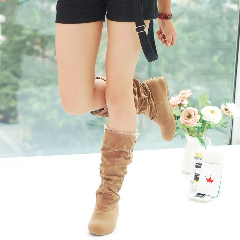 Women Lace Nubuck Flat Heels Winter Snow Boots Shoes Women's Flock Plush Padded Winter Long Riding Motorcycle Boots Shoes 6
