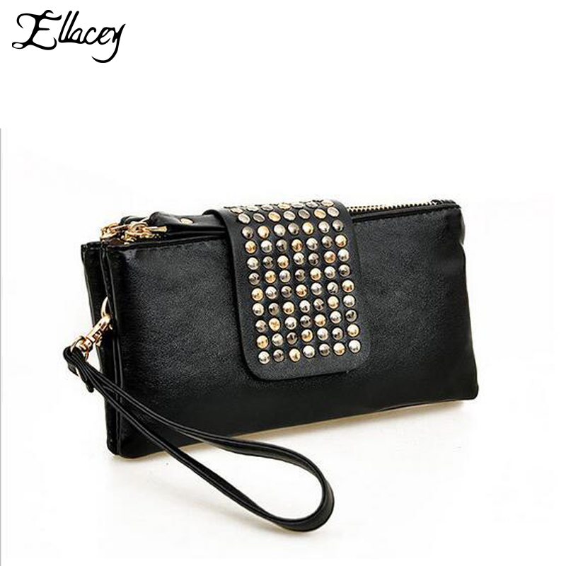 New Arrival 2017 Vertical PU Leather Wallet Studs Fashion Designer Wallet for Women Rivet Decoration Purse Ladies Card Holder