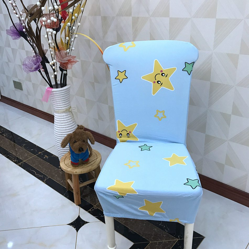 Cartoon Yellow Stars Spandex Dining Room <font><b>Chair</b></font> <font><b>Covers</b></font> Decorations for <font><b>Chairs</b></font> Cheap But Fashion Polyester <font><b>Chair</b></font> Slipcovers