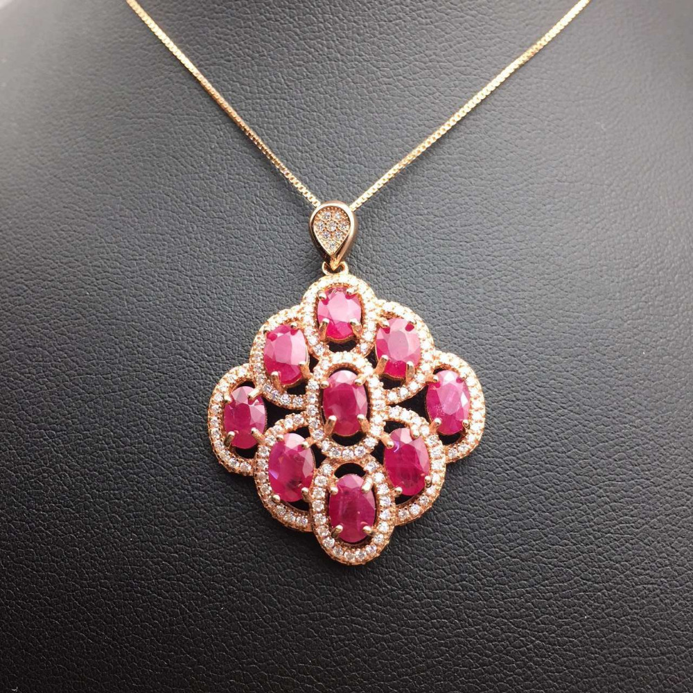 Natural red ruby stone pendant s925 silver natural gemstone pendant natural red ruby stone pendant s925 silver natural gemstone pendant necklace trendy elegant leaves fan women girl jewelry in pendants from jewelry aloadofball Images