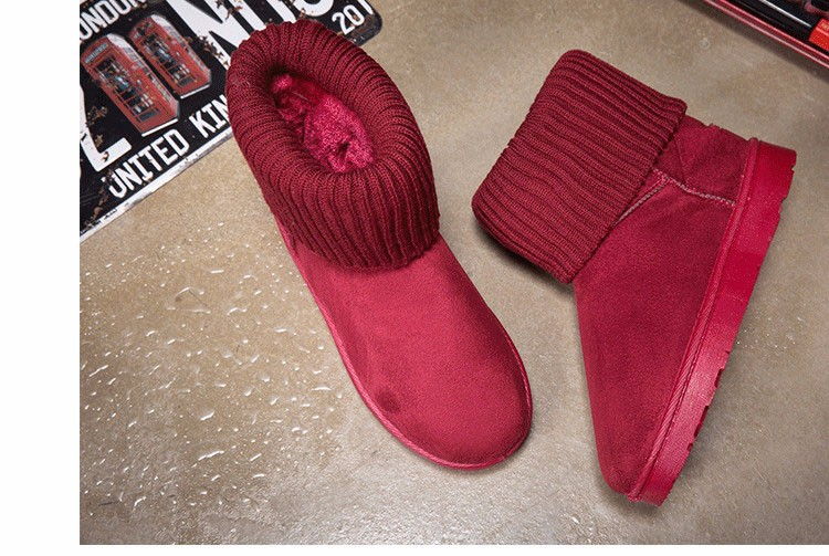 KUYUPP Patchwork Knitting Wool Women Snow Boots Winter Shoes 2016 Flat Heels Warm Plush Ankle Boots Slip On Womens Booties DX119 (57)