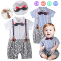Gentlemen Stylish Suspender Baby Romper Bebes Mustache Tie Jumpsuit Newborn Little Star Printed One Piece Suit Kids Clothes