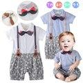 Senhores Elegante Suspender Romper Do Bebê Bigode Gravata Macacão Bebes Recém-nascidos Little Star Impresso One Piece Suit Roupa Dos Miúdos