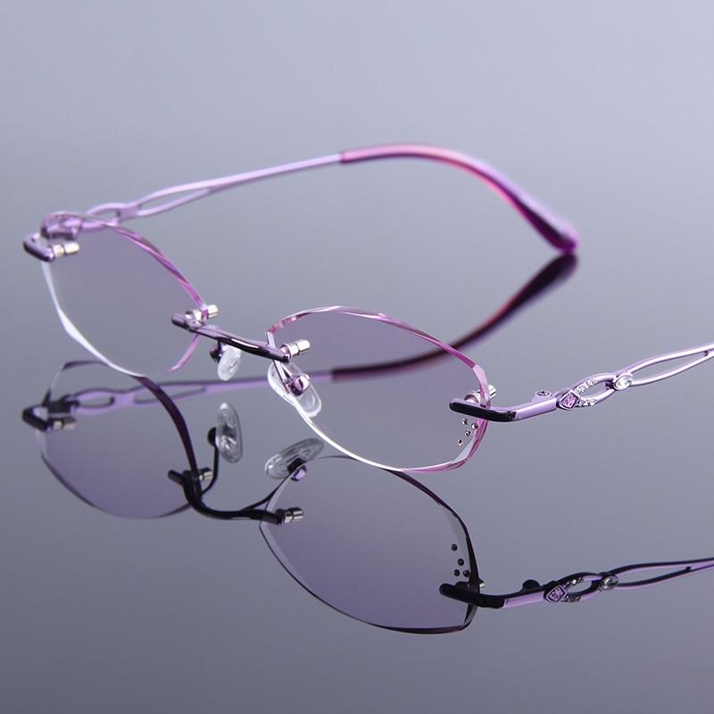 Weibliche Lesebrille Metall Widerstand Tragen Diamant Frauen Optik Beschichtung reflektierende Randlose Brillen Anti Schneiden tEz461wq