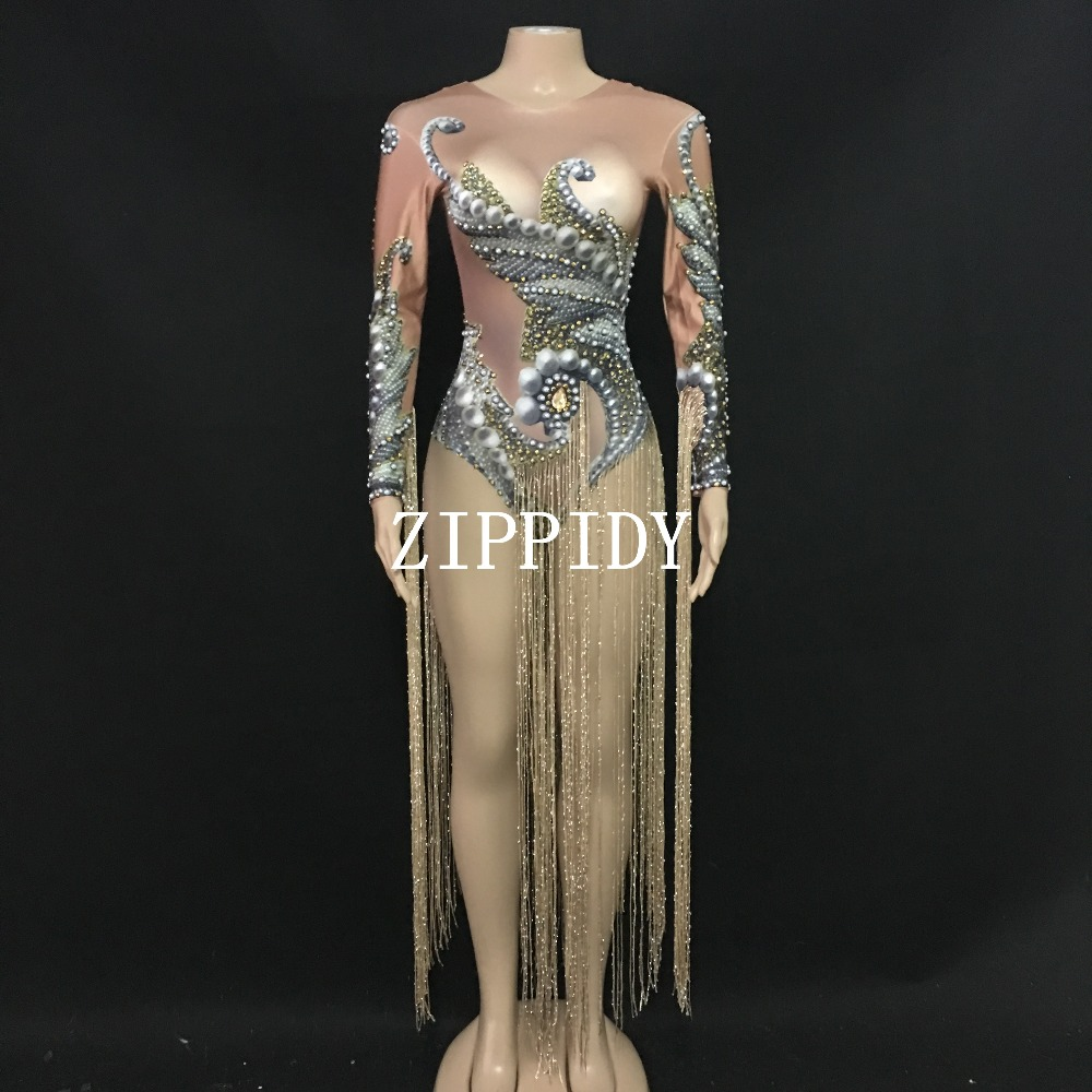 2019 Gold Long Tassel Rhinestones Bodysuit DJ Female Singer Show Stage Wear Women's Birthday Evening Bar Dance Outfit