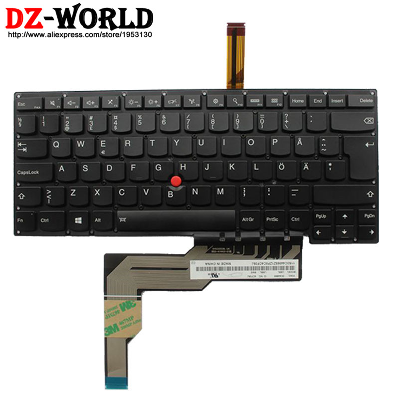 New Original Swedish Finnish Backlit Keyboard for IBM Lenovo Thinkpad S3 S431  S3 S440 Backlight Teclado SW FI 0C44865 laptop palmrest keyboard for lenovo for thinkpad s3 s431 s440 s431 us gr uk touchpad original mp 12n63 keyboard bezel cover