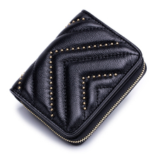 Premium 100% Cowhide Multi-Card Bit Card Case Women Business Card Holders Large Capacity Credit Card Wallets Brand Zipper Purse difenise 100% cowhide women clutch purses long european simple large capacity brand zipper purse hasp money bag credit card