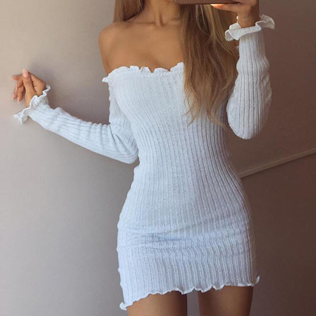 512a24f7e41 US $8.03 43% OFF|Women's Sexy Long Sleeve Mini Sweater Dress Solid  Strapless Knitted Dress Off Shoulder Winter Autumn-in Dresses from Women's  Clothing ...