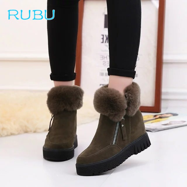 Winter Snow Boots Short Boots Female Korean Version of The Wild Thick-bottom Short Tube Inside The Increased Slope with Velvet стоимость
