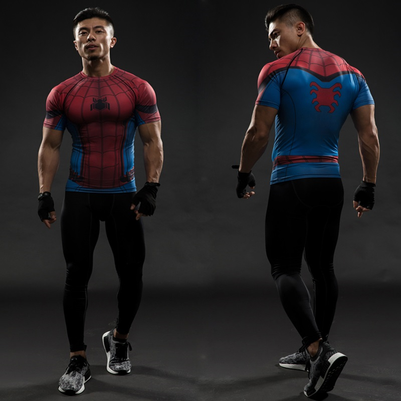 TUNSECHY Spider Man 3D Printed T Shirt Captain America Men Avengers Short Sleeve T-shirts Fitness Cosplay Slim Fit Tops Male