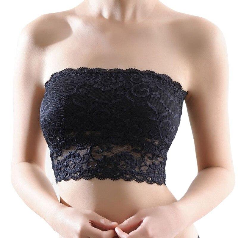 Fashion Women Lace Strapless Tube Top Sexy Bra Crop Tops Blusa De Renda Padded Seamless Tube Bra Bralette Bandeau Top