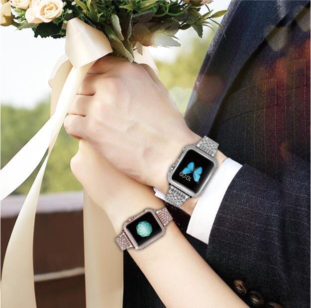 Montre cadre en métal anti-automne Diamant encadrée argent plaqué avec diamant housse de protection pour Apple Bande de Montre iwatch 123 38mm 42mm