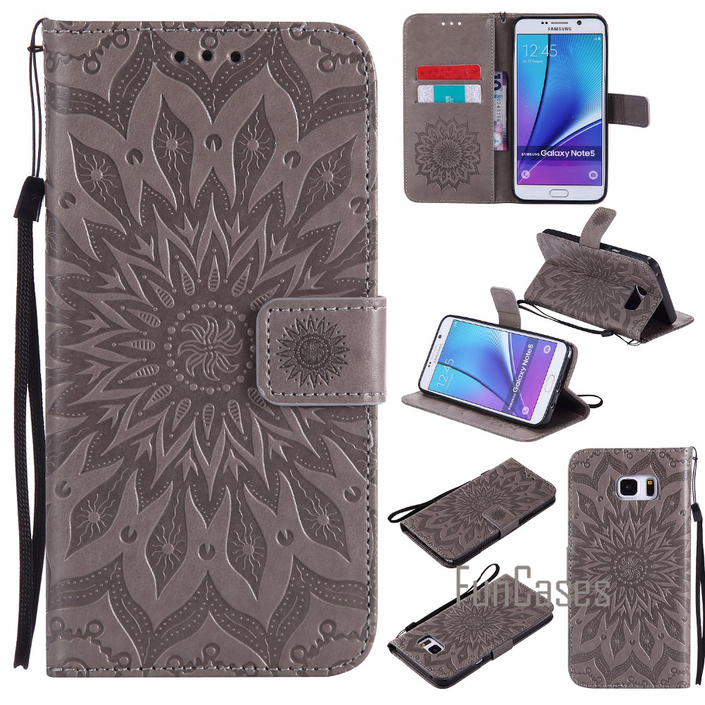 Embossed Flip Case sFor coque Galaxy Note 4 Flip Case sFor fundas Samsung Galaxy Note 3 Note 4 Note 5 Cover + Card Holders