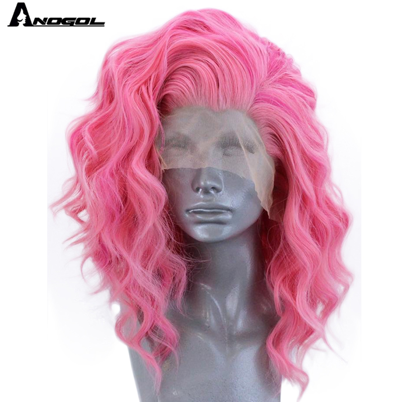 Anogol Short Roll Wave Pink Free Part High Temperature Fiber 360 Frontal Synthetic Lace Front Full