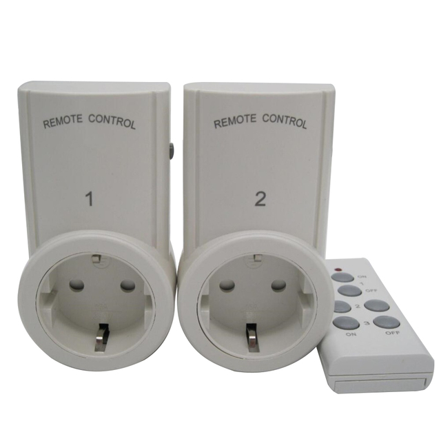 2pcs Socket Wireless Remote Control Home House Power Outlet Light Switch Socket +1 Remote EU Connector Plug BH9938 2 DC 12V