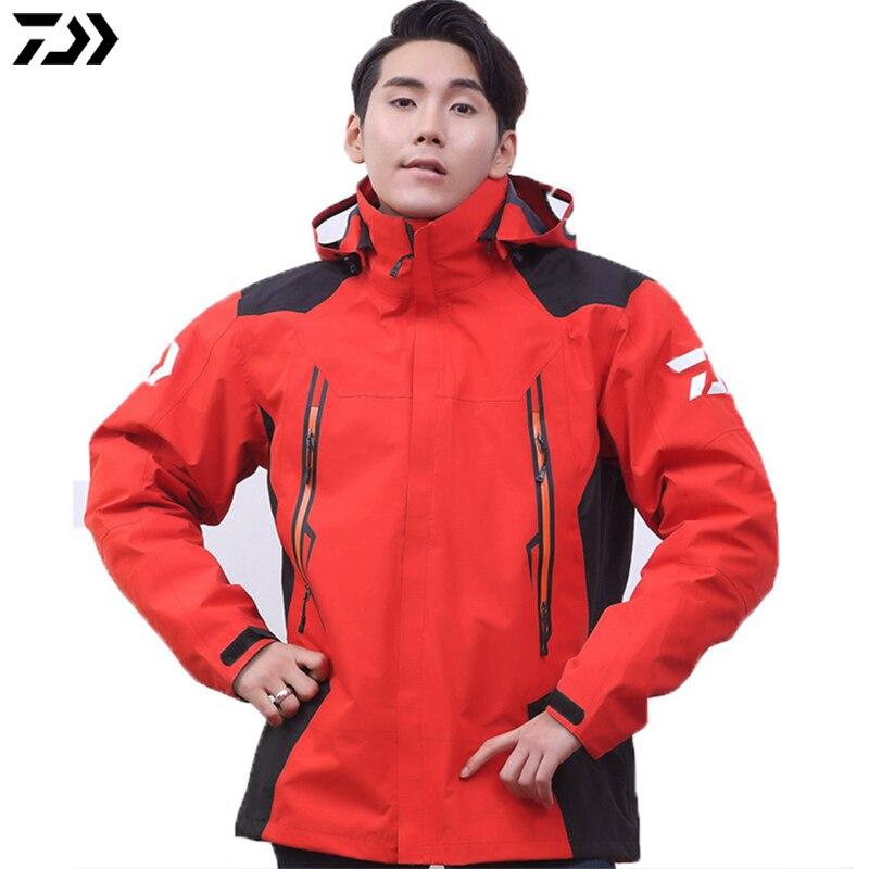 Hiver DAWA DAIWA veste de pêche Noir Rouge Sport En Plein Air Alpinisme vêtements de pêche Étanche Anti-UV Hommes tenue de pêche
