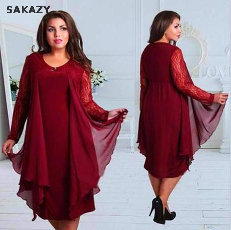 2018 Plus Size L 6xl Pathcwork Lace Dress Fashion Elegant ...