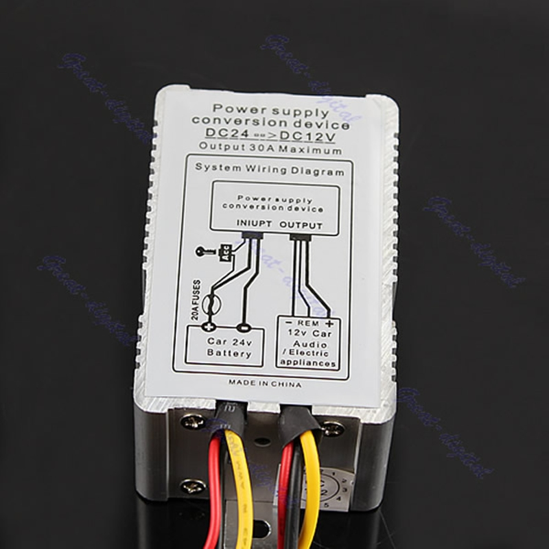 Convertisseur d'inverseur d'alimentation de voiture de dispositif de Conversion de DC-DC de 24V à 12V 30A