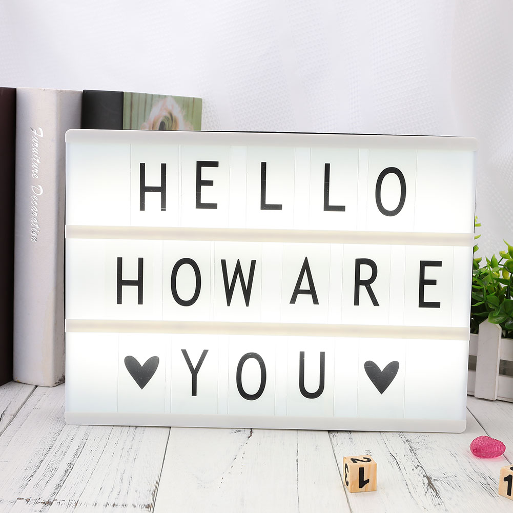 Letters 85pcs Cinema Lightbox A4 LED Cards Gift Replacement Sign Photography Gifts Diy Tool Up Message