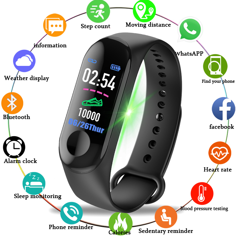 M3 Smart Wristband Watches Sport Fitness Watch Color-screen Waterproof Blood Pressure Monitor Heart Rate Monitoring
