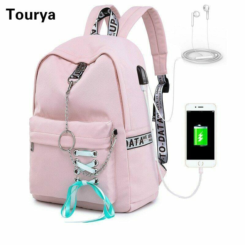 Tourya Fashion Waterproof Backpack Women School Bags For Teenagers Girls USB Charge Bow Travel Rucksack Laptop Bagpack Mochila