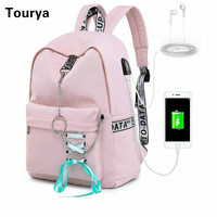 Tourya Fashion Waterproof Backpack Women School Bags For Teenagers Girls USB Charge Bow Travel Rucksack Laptop Bagpack Mochila