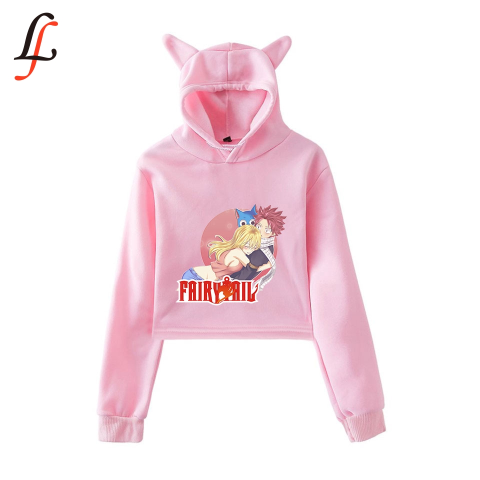 Fairy tail Cat Ear <font><b>Cap</b></font> <font><b>Sexy</b></font> Hoodies Fashion Trend Cat Crop Top Women Hoodies Sweatshirt Harajuku <font><b>Sexy</b></font> Hot Kpop Clothes image