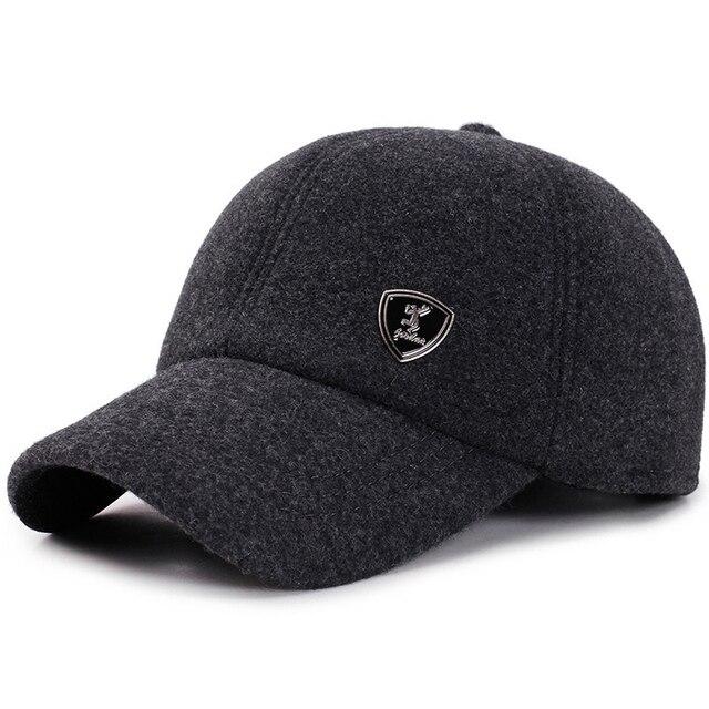 6e56a7652a72e 2018 New Men s Baseball Cap Winter Warm Earflap Dad Hats Wool Cotton Russia  Hats Casquette Bone Gorro Fitted Earmuff Protection