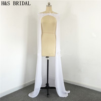 2019 Long Wedding Jacket Chiffon White Lace Appliques Bridal Wraps Vestidos Bridal Capes Real Photos Cheap