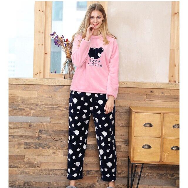 0ed82cdd4aa0 2018 Women New Coral Velvet Sleepwear Sets Polka Dot Flannel Velvet Pajamas  Female Home Clothing Winter