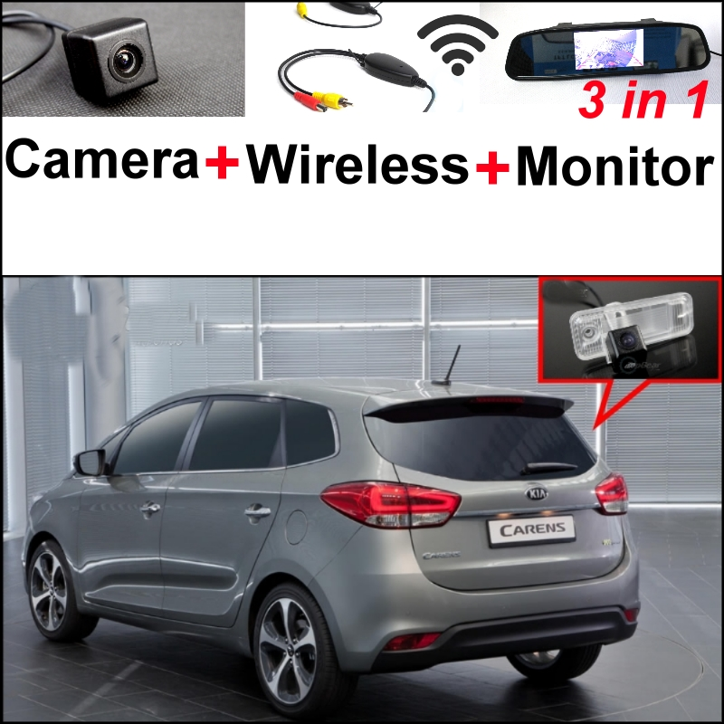 3 in1 Special Rear View Camera + Wireless Receiver + Mirror Monitor DIY Back Up Parking System For KIA Carens RP MK3 2012~2015 wireless pager system 433 92mhz wireless restaurant table buzzer with monitor and watch receiver 3 display 42 call button