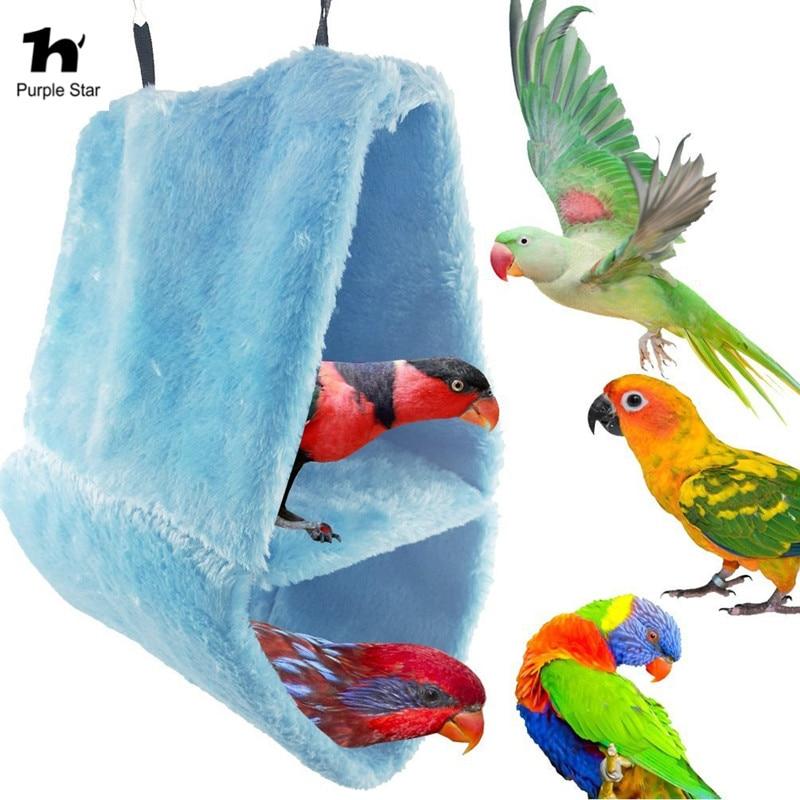 Trend Mark Paars Ster Vogel Papegaai Twee Layer Opgeschort Warm Kooi Netto Swing Hanger Afrikaanse Grijs Nest Hangmat Totoro Eekhoorn Slaapkamer Kooi Bespaar 50-70%