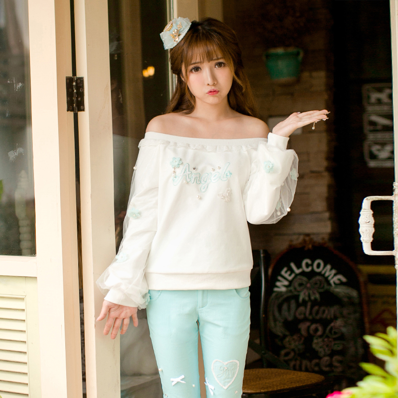 Princesse douce lolita bonbons pluie slash cou veste automne doux à manches longues manches bouffantes broderie bas chemise C22CD7186