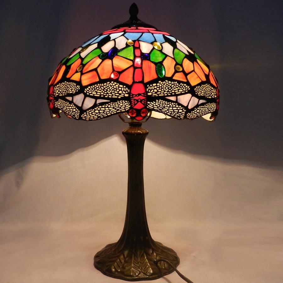 European Tiffany Dragonfly High Table Lamp Classic Small Lamp Living Room  Bedroom Bedside Lamp Villa Creative