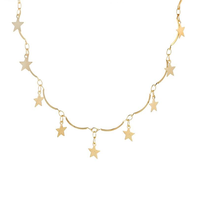 2017 Hot Koop Gold Zilveren Tassel Tiny Star Choker Kettingen Voor Vrouwen Boho Mode-sieraden Kerstcadeau